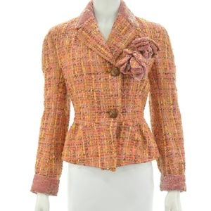 JOHN GALLIANO WOOL BLEND TWEED METALLIC BLAZER 6